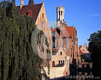Canal and buildings, Bruges, Belgium.
