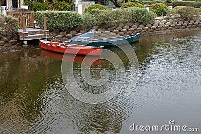 Canal Docked Boats
