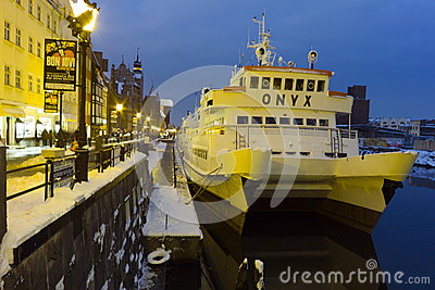 Canal in Gdansk at night. Editorial Stock Photo