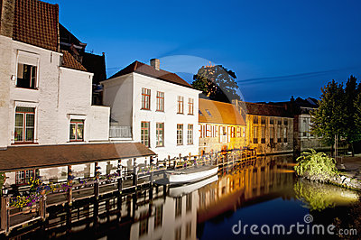Canal houses of Bruges by night, Belgium