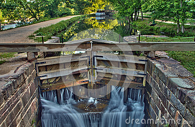 Canal lock on historic C&O Canal waterway