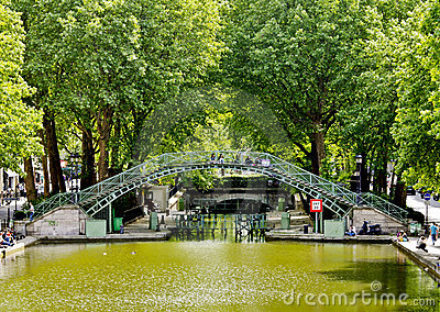 Canal Saint-Martin, Paris Editorial Stock Photo