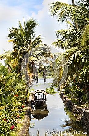 Free Canal Scene Taxi Boat Kerala Backwaters India Royalty Free Stock Image - 21373636