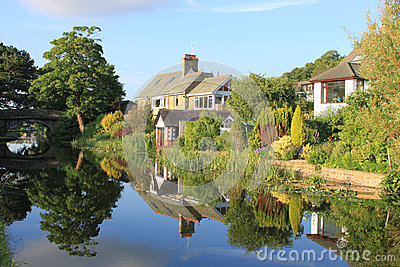 Canal side houses by Lancaster canal, Lancaster. Editorial Stock Image