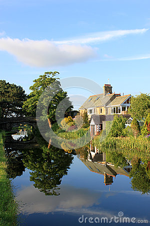Canal side houses by Lancaster canal, Lancaster. Editorial Image