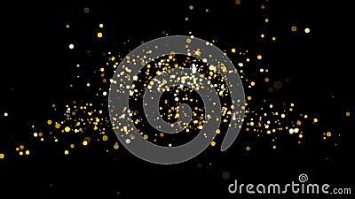 Canale alfa Scheda video con le congratulazioni natalizie Titolo d'oro decorativo, coriandoli Modello introduttivo dell'introduzi video d archivio