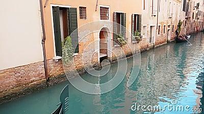 Canale con gondolas a Venezia archivi video