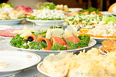 Canape, Banquet in the restaurant