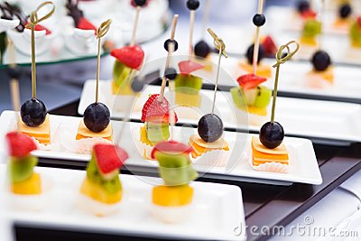Canape with cheese and olives