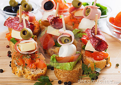Canape with italian food ingredients