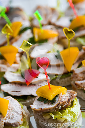 Canape with meat  and vegetable