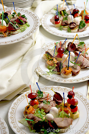 Canape on a plates