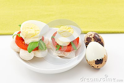 Canape with quail eggs royalty free stock photos image for Quail egg canape