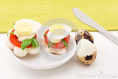 Canape with quail eggs royalty free stock photo image for Quail egg canape