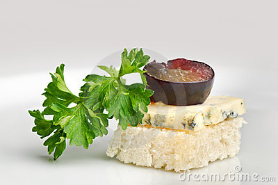 Canape with Roquefort cheese