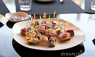 Canapes in expensive restaurant