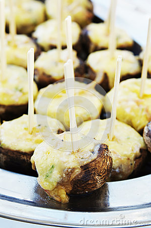Canapes with melted cheese