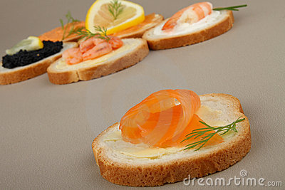 Canapes of salmon