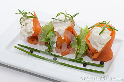 Canapes with smoked salmon with cream cheese stock photo for Smoked salmon cream cheese canape