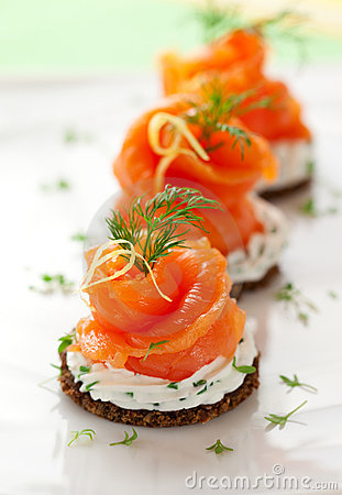 Free Canapes With Smoked Salmon Royalty Free Stock Photo - 21982955