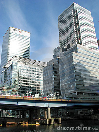 Canary Wharf business district in London Editorial Stock Photo