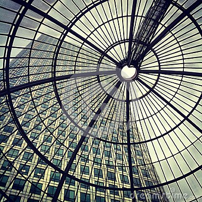 Canary Wharf - Cabot Square through Glass Roof