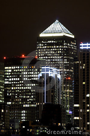Canary Wharf illuminated at night