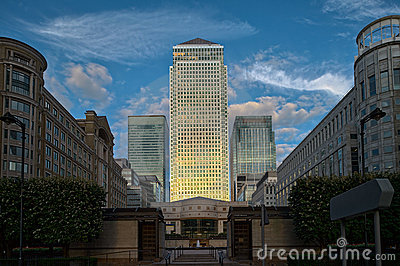 Canary Wharf London from Cabot Square dusk