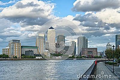 Canary Wharf, London, England, UK,across Thames