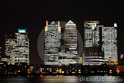 Canary Wharf at Night Editorial Photography