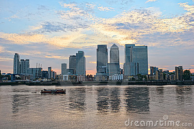 Canary Wharf, over Thames, London, England, UK