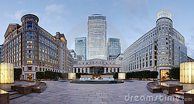 Canary Wharf skyline from Cabot Square, London