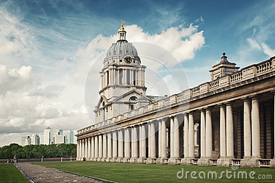 Canary Wharf skyline and Greenwich College Editorial Stock Photo