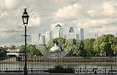 Canary Wharf skyline panorama Editorial Image
