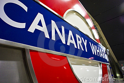 Canary Wharf Tube Sign Editorial Stock Image