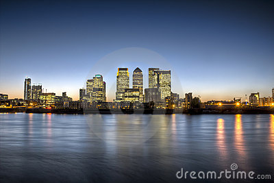 Canary Wharf twilight HDR