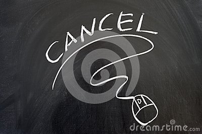 Cancel word and mouse sign