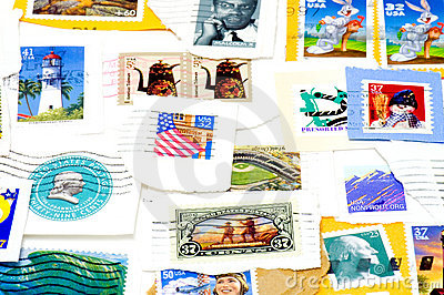 Canceled US postage stamps