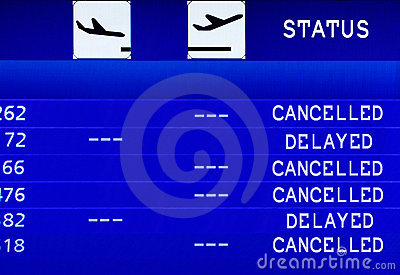 Cancelled Flight. Information board.