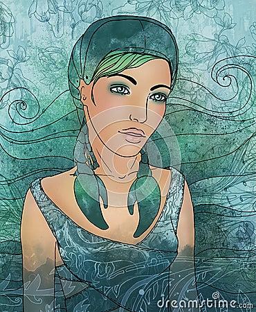 Cancer zodiac sign as a beautiful girl