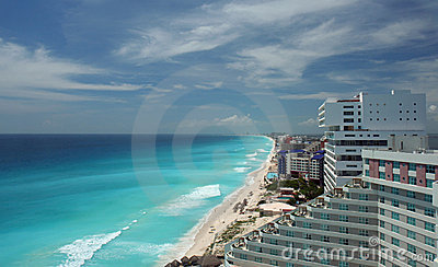 Cancun aerial beach view