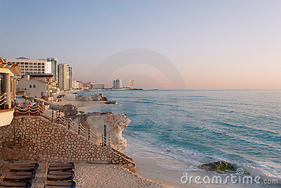 Cancun beach sunrise