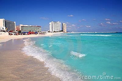 Cancun Caribbean sea view from up wave
