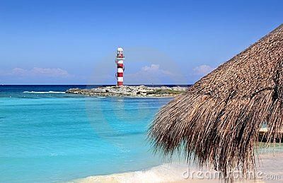 Cancun lighthouse turquoise caribbean beach