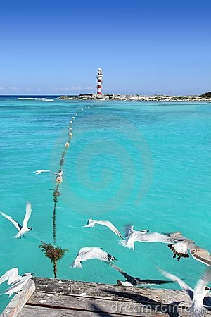 Free Cancun Lighthouse View From Seagull Pier Royalty Free Stock Photos - 18384358