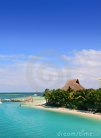 Cancun Mexico lagun och karibiskt hav