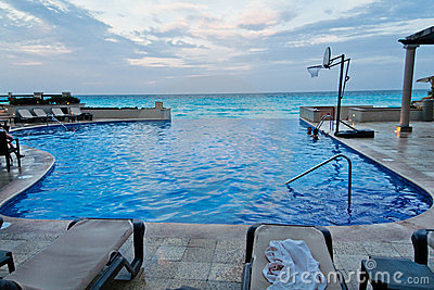 Cancun Pool and Ocean Yucatan Mexico