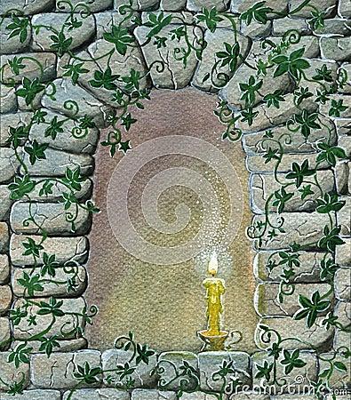 Candela Magica Nella Finestra Fotografia Stock Libera Da
