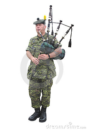 Candian Military Bagpiper Editorial Photography