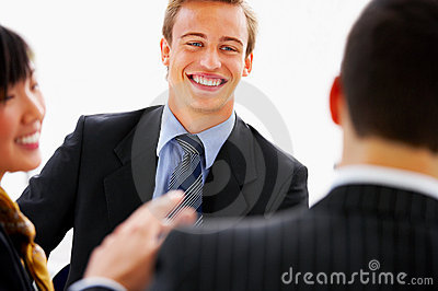 Candid business interaction
